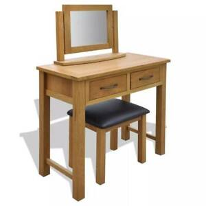 Oak Dressing Table with Stool and Mirror Bedroom Makeup Vanity Sydney City Inner Sydney Preview