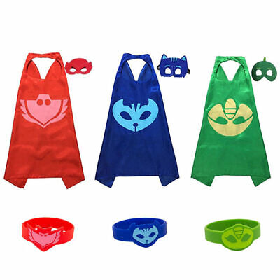 DE Kinder Karneval Fasching PJ Masks Kostüm Cape Catboy Owlette Gekko Cosplay