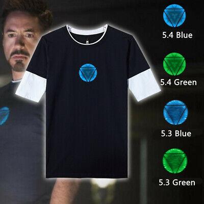 Avengers Endgame Iron Man Tony Stark Reactor Luminous Short T-shirt Tee Tops ()