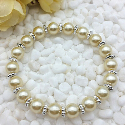 NEW Wholesale Fashion Jewelry 8mm Champagne water Pearl Beads Stretch Bracelet - Water Beads Wholesale