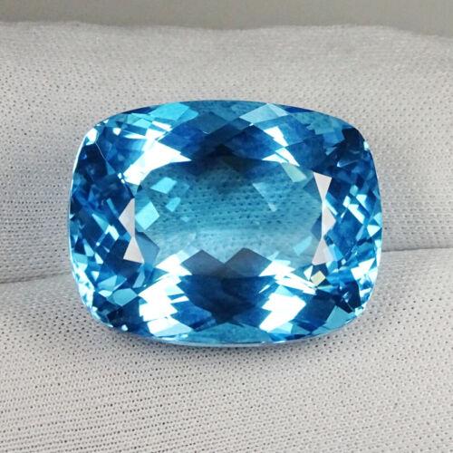 52.74 ct BEAUTIFUL LUSTROUS BABY SWISS BLUE NATURAL BLUE TOPAZ Cushion cut  9157