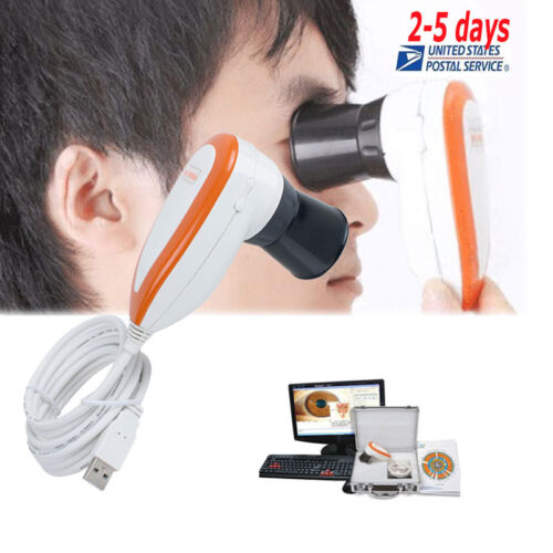 5.0 USB Iriscope LED Iris Analyzer Iridology Camera Pupilometer+Software+Case CE