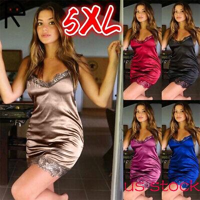 Sexy Plus Size Satin Silk Lingerie Dress Lace Mini NightdressSleepwear Nightgown ()