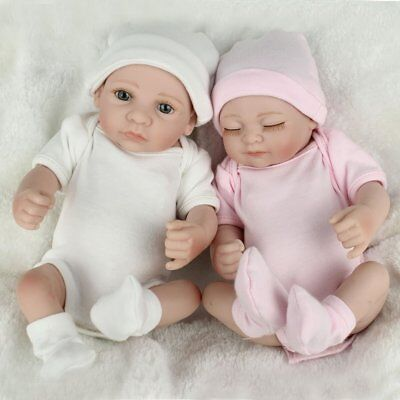 "10"" Twins Reborn Baby Dolls Newborn Full body Vinyl Silicone Boy&Girl Doll 2PCS"