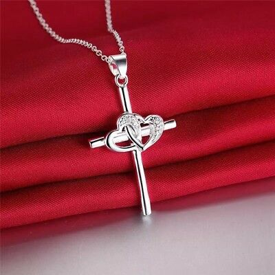 Womens 925 Sterling Silver Cz Crystal Heart In Cross Pendant Necklace 18  N31