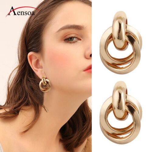 Retro Women Zinc Alloy Metal Gold Silver Geometric Dangle Drop Earrings Jewelry