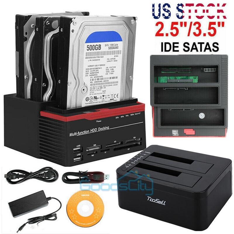 "USB 3.0 SATA HDD SSD Docking Station Offline Clone 2.5""/3.5"" Hard Drive"