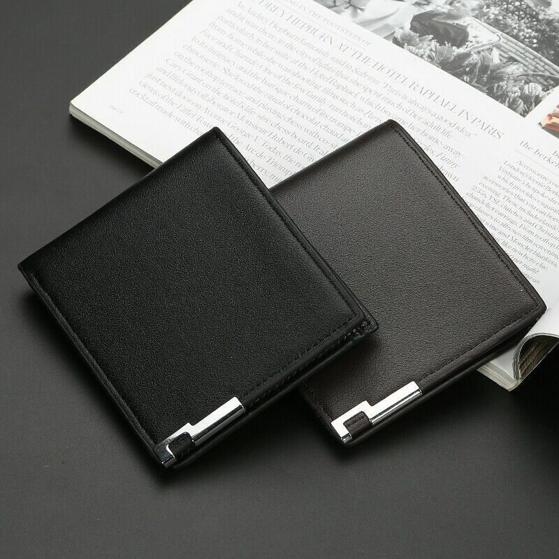 Mens Leather Wallet Slim Money Purse Bifold RFID Front Pocket Credit Card Holder Clothing, Shoes & Accessories