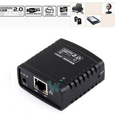 Newest USB 2.0 Ethernet Network LPR Print Server Printer Share Hub Adapter
