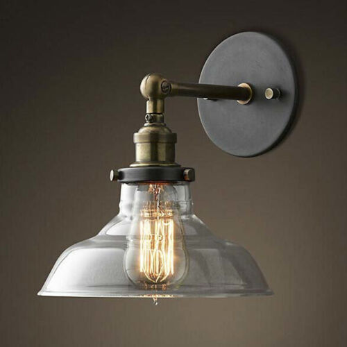 Antique Vintage Wall Light Sconce Clear Glass Shade Light Ba