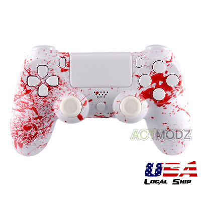 For Sony PS4 Controller Custom Full Set Shell Cover Buttons Part Blood Patterned