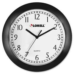 Lorell 9 Round Profile Wall Clock, Black - LLR60987