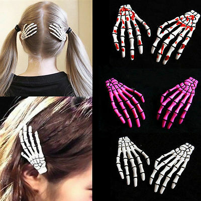 Halloween Party Zombie Skull Skeleton Hand Bone claw Hairpin Punk Hair Clip - Halloween Skeleton Hair