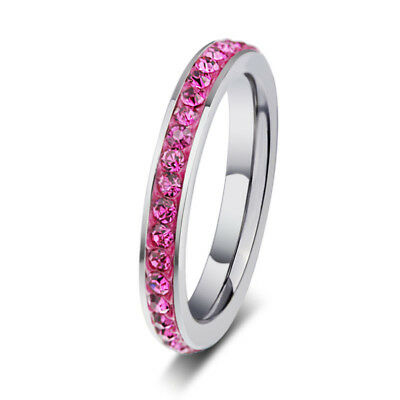 Women Fashion Stainless Steel Channel Set CZ Eternity Band Ring