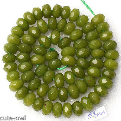 5x8mm Faceted Abacus green Jade Jewelry Making Loose Gems Beads 15