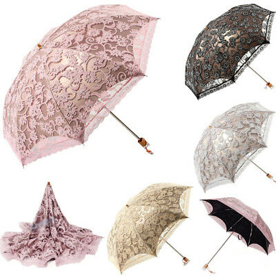 (New Lace Princess Parasol Sun/Rain/Snow Anti-UV Folding Wedding Bridal Umbrella)
