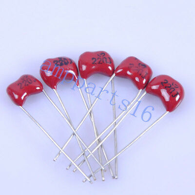 5pcs Mica Capacitor Silver 220pf 500v Radial For Guitar Amplifier Radio