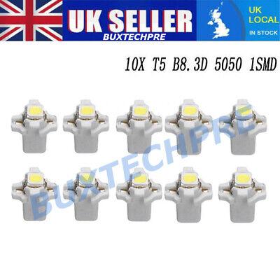 10PCS B8.3D W3W T5 5050-LED 12V Bulb Gauge Dashboard Light Bulb Panel Lamp White