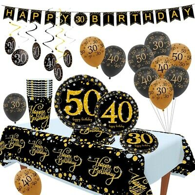 40th Birthday Tableware (30/50/40th Disposable Paper Tableware Sets Happy Birthday Banner Party)
