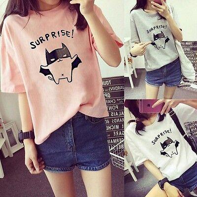 "Fashion Women Korean Summer Short Sleeve T-Shirt Student Top ""Suprise"" Blouse"