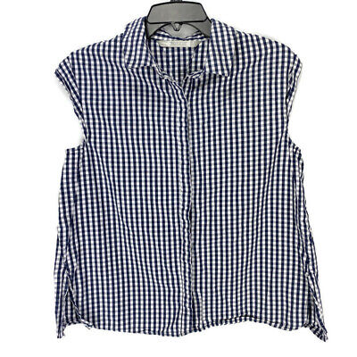 Zara Trafaluc Womens Top Small Navy Blue White Gingam Check Cap Sleeve Button Up