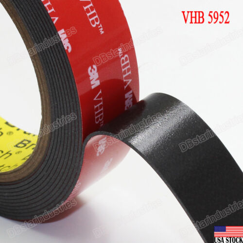 """3m 1"""" Vhb Double Sided Foam Adhesive Tape 5952 Grey Strong Industrial Grade 9 Ft"""