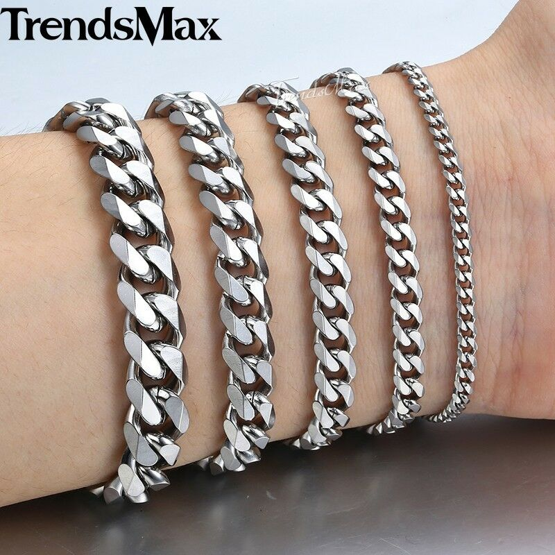 "8""-11"" Men Stainless Steel Bracelet Cuban Link Chain Silver"