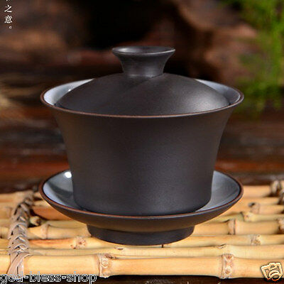 Chinese Yixing tea set Zisha tea cup with lid saucer gaiwan simple usage for tea for sale  China