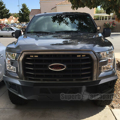 Raptor Black Bumper (2015-2017 Ford F150 Front Bumper High Quality Black Steel Raptor Style )