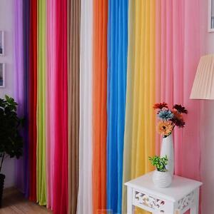 Sheer voile window curtain panel solid balcony room drapes treatment