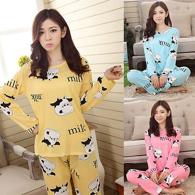 Women Long Sleeve Winter Warm Sleepwear Homewear Cartoon Pajamas T Shirt Set