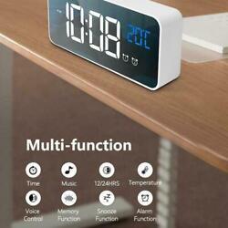 Mini LED Digital Alarm Clock  Smart Small Mirror Display Temperature Recharge US