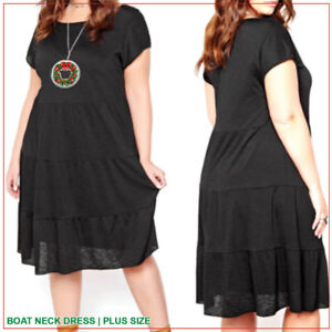 HOLIDAY DRESS - Boat Neck, Tiered Skirt, Lining   |   Plus Size