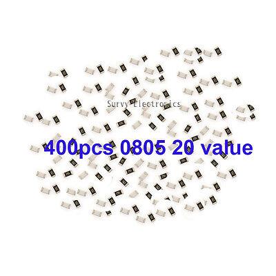 400pcs 0805 Smd Smt Resistor Assort Kit 20 Kinds Value 5 New