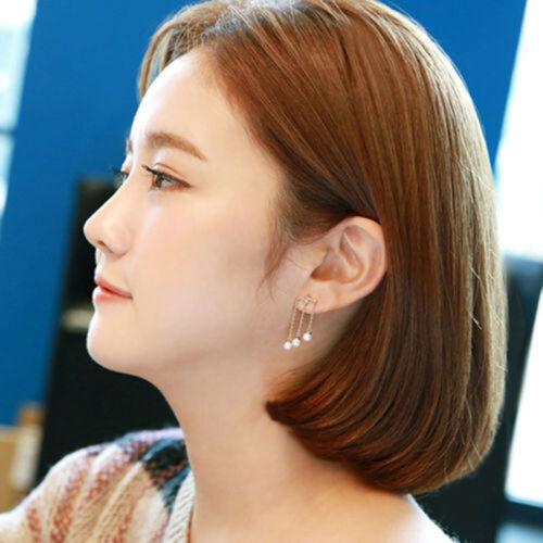 1 Pair Women Fashion Elegant Silver Plated Pearl Drop Dangle Ear Stud Earrings