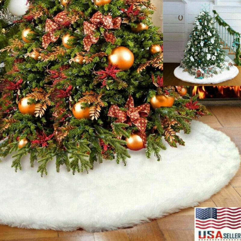 78cm Christmas Tree Skirt Plush Mat Faux Fur Xmas Floor Decor Ornament Party US