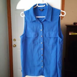 Sheer Royal Blue Sheeveless Blouse