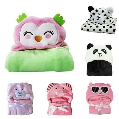 Newborn Infant Baby Soft Hooded Blanket Bath Towel Kids Animal Pattern Bathrobe