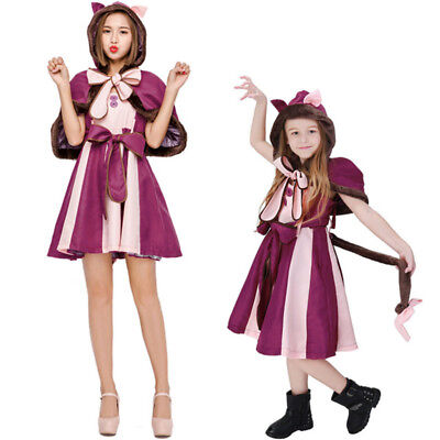 Alice In Wonderland Cheshire Cat Cosplay Costume Fancy Dress Suits For Kid&Adult - Cheshire Cat Costumes For Kids