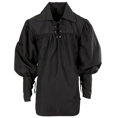 Mittelalter Herren Kostüm Hemd Schnürhemd Gothic Ritter Pirat schwarz Gr XL - Kostüm Pirat Herren