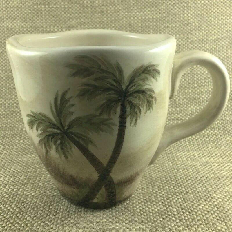New Bahamas Palm Tree Tabletops Unlimited MUG 20 OZ Hand Painted