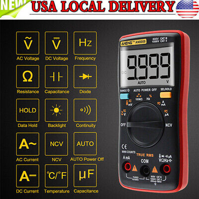 Aneng An8009 Digital Clamp Meter Multimeter Handheld Rms Acdc Resistance