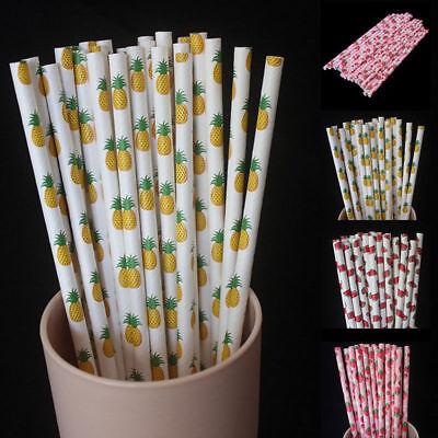 25pcs Fruit Biodegradable Paper Drinking Straws Striped Birthday Party Wedding - Birthday Paper