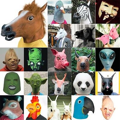 Multi Funn Y Horse Unicorn Latex Mask Cosplay Halloween Animal Zoo Party Prop