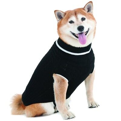 Black Dog Knit Sweater - Fashion Pet Warm Black Cable Knit Dog Sweater in sizes XX-Small to X-Large