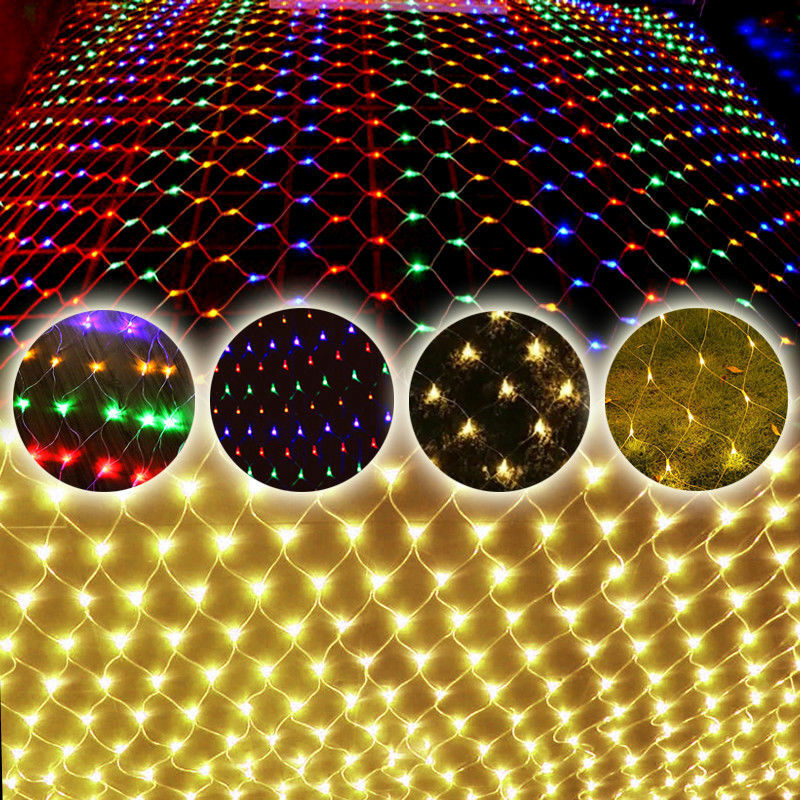 LED Vorhang Garten Lichterkette Beleuchtung Weihnacht Lichternetz Lichtervorhang