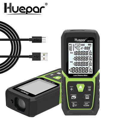 Huepar 330Ft/100M Laser Distance Meter Range Finder Measure with Li-ion Battery
