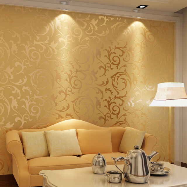 Gold 3d Real LOOK Leafs Decorative Pattern Wall Wallpaper Embossed ...