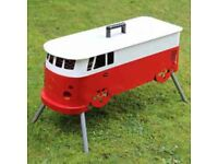 Red and White Camper Van BBQ - New + FREE Local Delivery