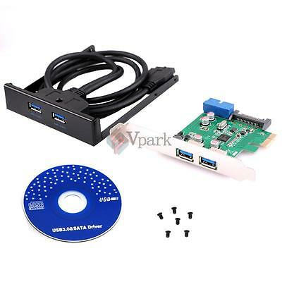 "PCI Express 2 Port USB 3.0 PCI-E Card Adapter W 3.5"" Expansion Bay Front Panel"